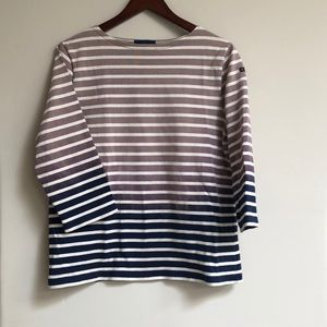 J.Crew Grey White Navy 3/4 Sleeve Shirt 4